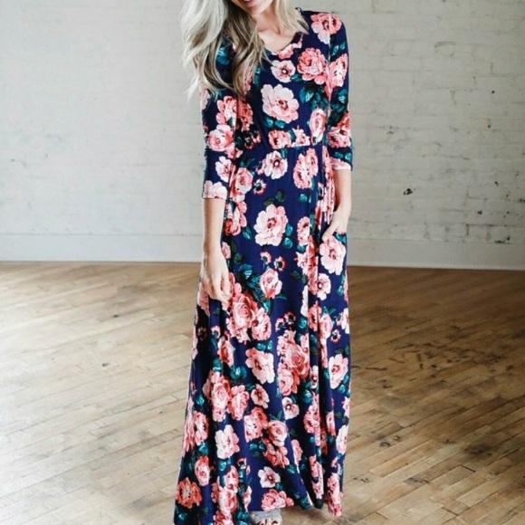 027d40e6b573 Ashley LeMieux Dresses | Blue Floral Maxi Dress | Poshmark